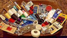 sewing notions lot thread bobbin pins gauge elastic arts crafts needles