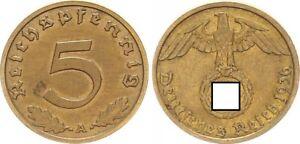 Drittes Reich 5 Pfennig 1936 A seltenes Jahr ss-vz,kl.Fleck  64360