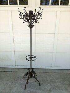 Antique 6' Victorian Cast Iron Coat Tree Rack  ~ 24 Ornate Hooks ~ Dragon heads