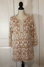 Chico's Womens Beige Tan White Knit Top Tunic 3/4 Sleeve Size 1