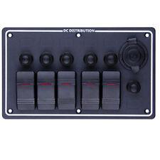 5 GANG ALUMINUM LED BOAT RV SPLASHPROOF SWITCH PANEL 12V OUTLET CIRCUIT BREAKER