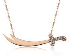 925 Sterling Silver Rose Gold Vermeil Zulfiqar Sword Necklace