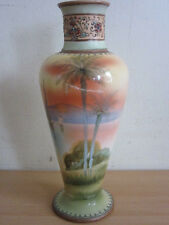 """Vintage Nippon Japan hand painted 10"""" high quality painted vase w/ Boat scene"""