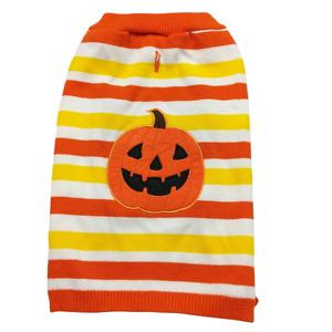 Martha Stewart Pets Halloween Dog Striped Orange Pumpkin Sweater Costume Large