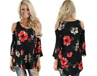 Woman's Ladies Floral Wedding Party Cold Shoulder Top Plus Size 12 14 16 18 20