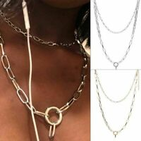 Metal Necklace Punk Ring Choker Party Gothic Women Girls Round O Collar Chain