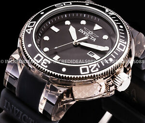 Invicta Grand Pro Diver Anatomic Silver Black SS 52mm Mens Stylish Bold Watch