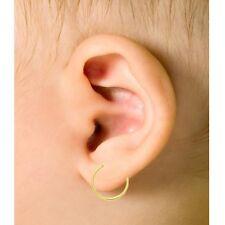 10K Real Yellow Gold Baby Hoop Earrings Kids Childrens Hoops 12mm Tubular