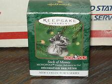 2000 HALLMARK SACK OF MONEY MONOPOLY GAME ADVANCE TO GO MINIATURE ORNAMENT~NEW