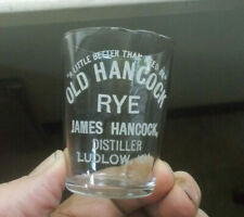 LUDLOW,KY OLD HANCOCK RYE WITH MOTTO ETCHED PRE PRO ADV WHISKEY SHOT GLASS