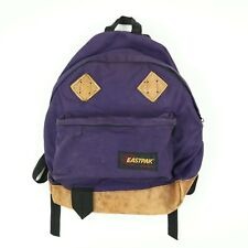 Vintage Eastpak Nylon Canvas Leather Bottom Backpack Bookbag Blue USA Made