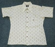Vintage 70s USA Made Knit Shirt Button Up Bonds Large Short Sleeve Polyester