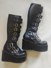 DEMONIA Platform Straps Buckles Boots knee high Gothic Vegan Goth Women US Sz 7