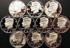 1990-1999 S Kennedy Half Dollar Gem DCam Proof Run 10 Coin Set CN-Clad US Mint.