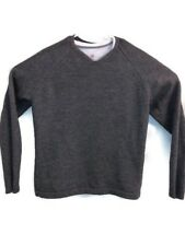 Tiger Woods Mens Large 100% Wool Pullover Sweater V Neck Gray EUC