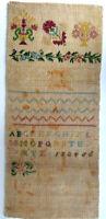 ANTIKES STICKMUSTERTUCH KREUZSTICH vor 1900 ~ 31 x 14 cm fein Unvollendet BLUMEN