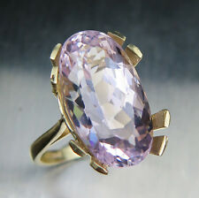 11ct RARE Natural Pink Kunzite 18.35x10mm 9ct 375 yellow gold ring