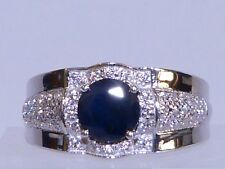 GENUINE 1.84cts! African Sapphire Ring Men's/Unisex, Solid Sterling Silver 925!