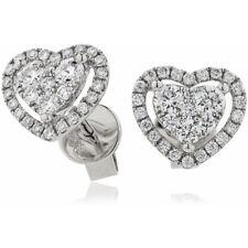 0.65ct F VS Diamond Heart Halo Earrings in 18ct White Gold