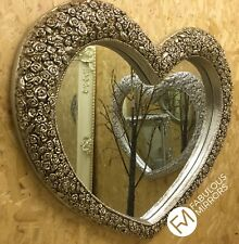 X Large Champagne Heart Mirror Stunning Ornate Elegant Roses Mirror *NEW*