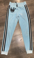 Justice Girls Size 14/16 Joggers Blue Velour Glitter Black Crown Pants Must Have