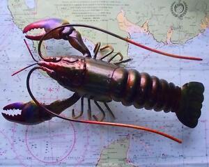 Superb METAL TIN LOBSTER Iridescent Painted Beach Hut Lobster Pot Wall Hanging
