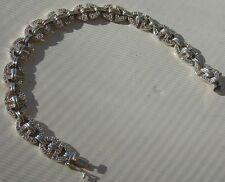 "Sterling Silver 925 Bracelet 7 1/2"" D Link Clear Stone"
