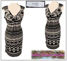 BNWT Wallis Petite Ladies dress Size 12 Brown mix Tribal print