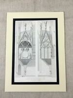 1857 Antique Print Reims Cathedral Masonry Gothic Angels Architecture