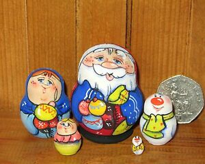 Russian nesting dolls Matryoshka tiny 5 Father Christmas Santa Frost Snowman