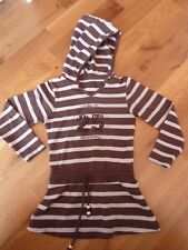 Fille - 2 ans  - robe manches longues - capuche - rayée marron, rose