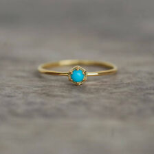 REAL 925 STERLING SILVER TURQUOISE YELLOW GOLD CHRISTMAS GIFT WOMEN'S TINY RING