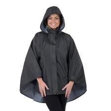 NOVEMBER RAIN Women's Waterproof Rain Poncho Jacket ~ Night Storm Black w/Pouch