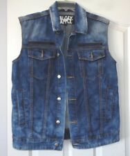BLACK APPLE ACID WASH DENIM TRUCKER VEST SZ LARGE PRISTINE (TOTAL OF 8 POCKETS)