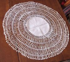 "Antique Victorian Crochet Doily Hairpin Lace Pattern 19"" Centerpiece - Beauty!"