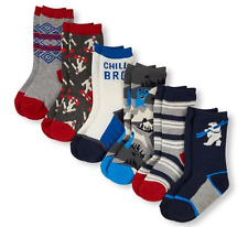 Toddler Mixed Print Socks 6-Pack size  12-24 M (6-7 SHOE SIZES)