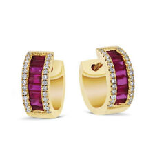 1.88 Ct Emerald Cut Natural Ruby Earrings 14K Solid Yellow Gold Engagement Hoops