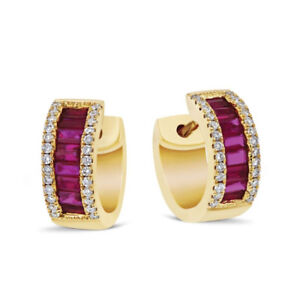 1.88 Carat Emerald Cut Real Ruby Earrings 14K Solid Yellow Gold Engagement Hoops