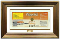 Andy Warhol Hand Signed Original Campbells Soup Label Pop Modern Framed Artwork