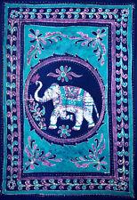 Cotton Batik Elephant Bedspread Tapestry Wall Hang Tablecloth Twin Blue Purple
