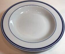 Cuisinart Blue Stripes 2Pc Large Rim Soup Bowl Fine European Vitrified Porcelain