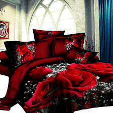 3D Rose Flower Twin Queen King Size Bedding Pillowcase Quilt Duvet Cover Set :