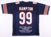 Dan Hampton Signed Autograph Blue Stat Football Jersey BECKETT COA Bears Great