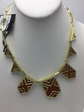 $198  House Of Harlow  Goldtone Caged station Tan Necklace HH100