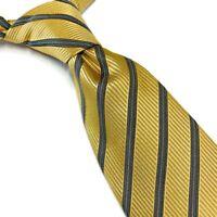 "Ermenegildo Zegna Mens 100% Silk Neck Tie Gold Silver Blue Stripes 3.5""W 59""L"