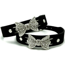 Bling Crystal Rhinestone Bow Tie Leather Pet Cat Puppy Dog Collar Necklace S M L