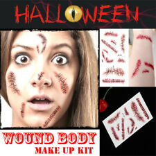 Stitched Wound Scary Scars Temporary Tattoo Sticker Instant Halloween Makeup new