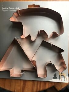 3 Cookie Cutters, Copper Coloured. Bear, Tree & Hut