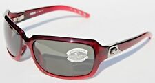 COSTA DEL MAR Isabela 580 POLARIZED Sunglasses Womens Pomegranate/Gray 580G NEW