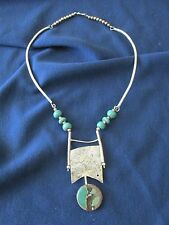 Artisan Sterling Siver Necklace with Clay Cabochon Beads Jennie Lorette Keatts